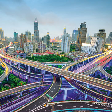 Shanghai, China Skyline over Highways and Junctions © SeanPavonePhoto